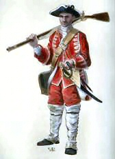 Private of the 33rd regiment of Foot (Johnson's). Painting by Christopher Pyrah