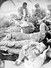 Above. Wounded Japanese troops at a field dressing station
