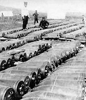 Food for the cannon, some of the masses of Japanese shells.