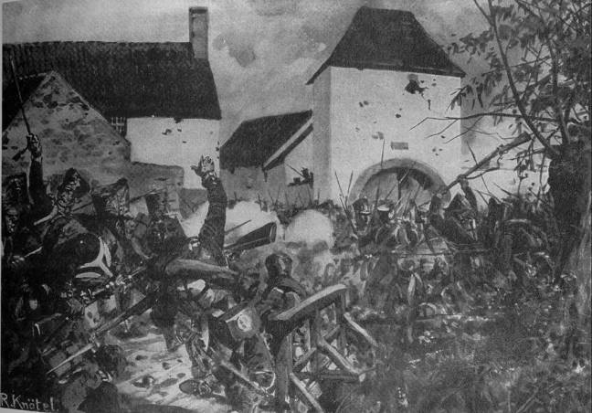 Prussian and French infantry fighting in Ligny (Painted by Knötel)