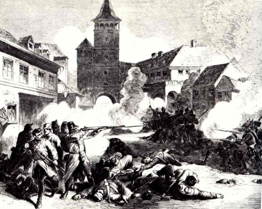Street fighting in Gitschin.