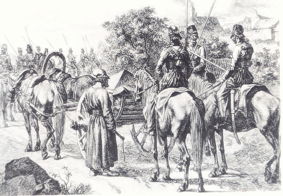 Engraving of Cossack cart (Dave Leonard)