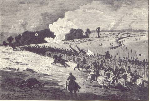 General McClellan riding the line of battle at Antietam. From a sketch made at the time.