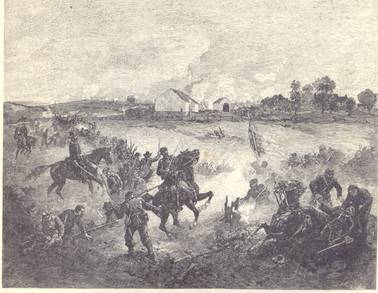 Sumner's Advance – French's Division closing in upon the Roulette's barns and house – Richardson's Division continuing the line far to the left.  From a sketch made at the time.