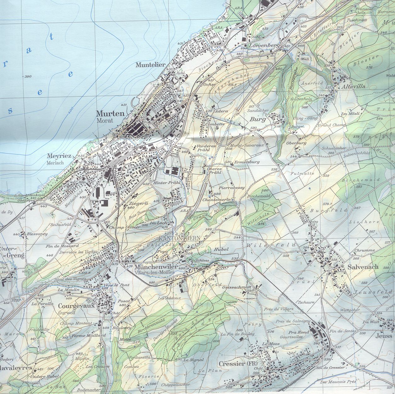 Modern map showing the battlefield of Murten