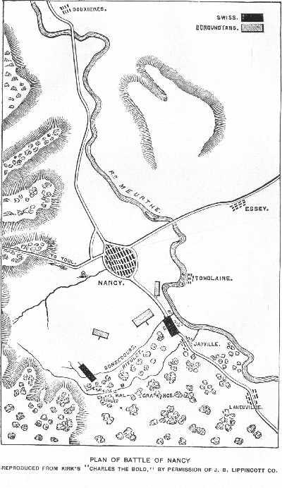 Map of the battlefield of Nancy (J.B.Lippincott Co.)