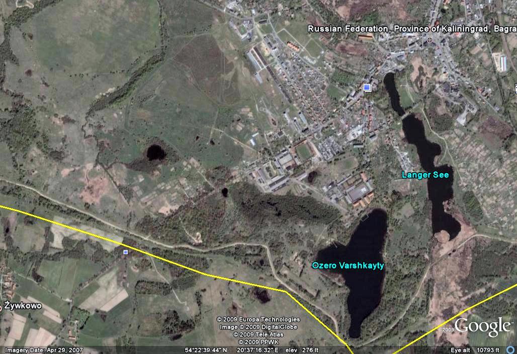 Satellite photograph of the Zieglhof plateau and Eylau Bagrationovsk) today. Google Earth.