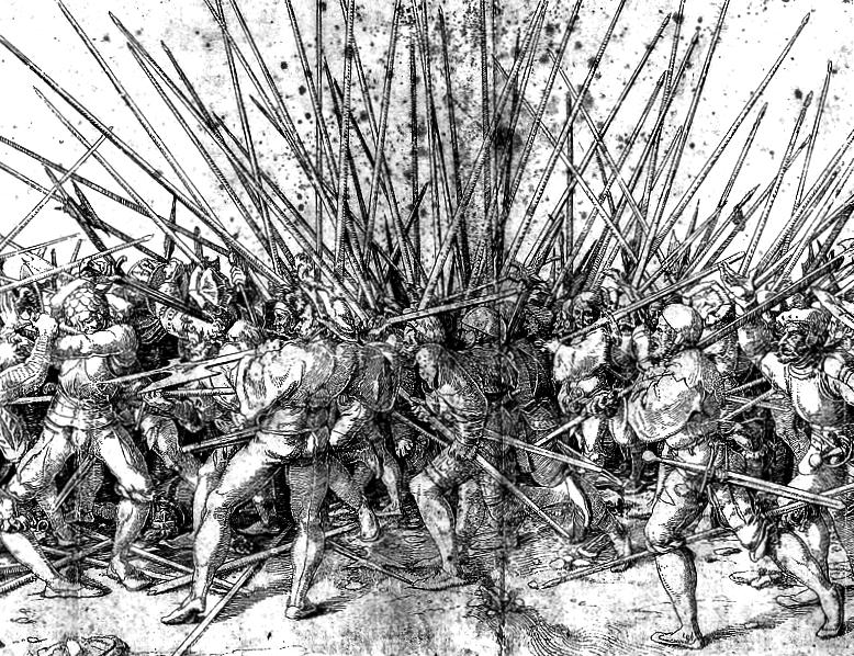 Clash of pikes ('Bad War' Hans Holbein)