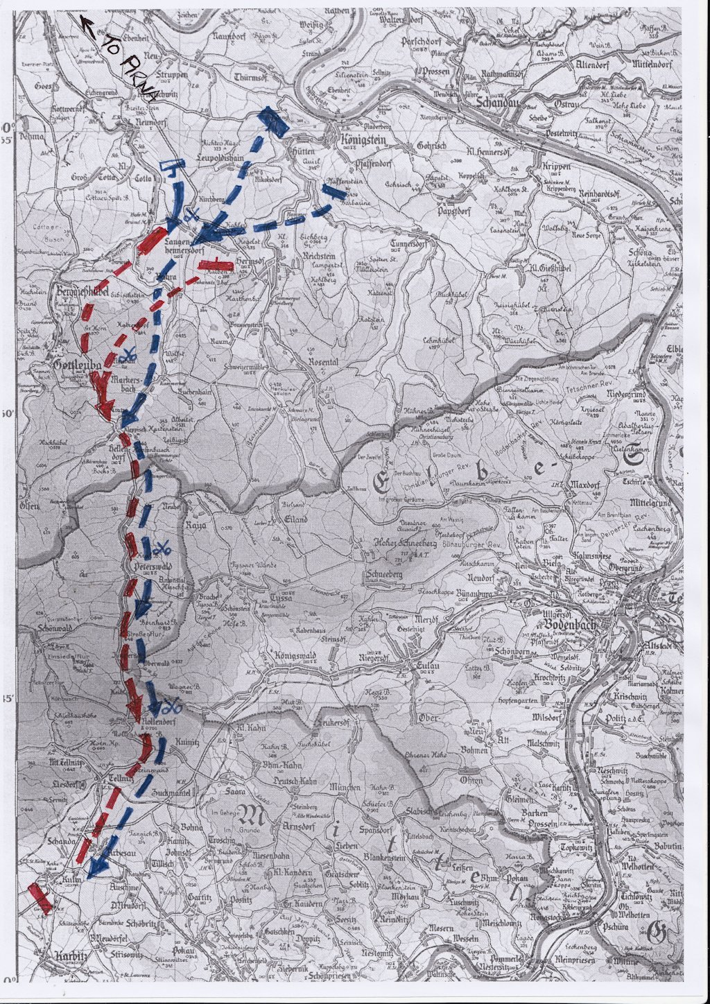 Russian troops (Red) line of retreat to Kulm. French 1st Corps (Blue) follow up to Kulm.