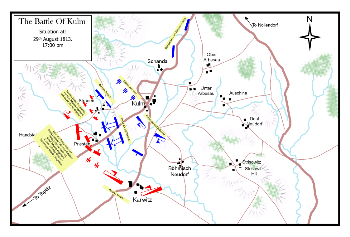 The Battle of Kulm, 29th August 1813. Situation at 5:00 p.m.