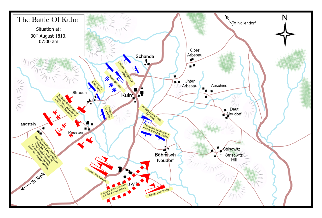 Battle of Kulm 30th August 1813. Situation at 7:00 a.m.