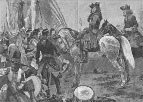 Marlborough inspecting French prisoners after the battle