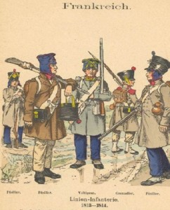 French recruits. The uniforms had deteriorated still further in 1814. By Knötel