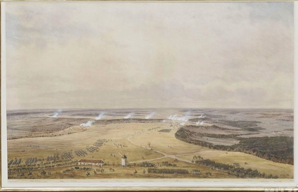 The Battle of Craonne, with the Mill in the foreground. Seen from behind the French position looking towards the Russian lines. Watercolour by Simon Fort.