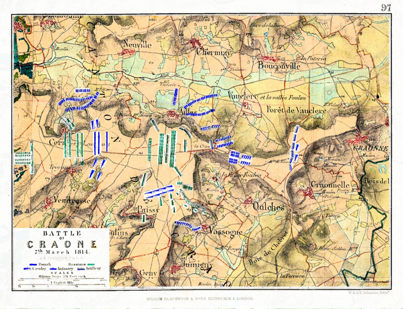 Troop positions overlayed on contemporary map (Staff Map 1820-166). http://www.geoportail.gouv.fr/