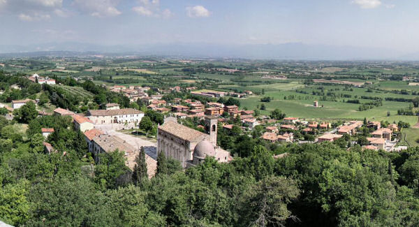 Looking north across Castle at Solferino . The San Martino tower is just off the right hand edge of the photograph. Lake Garda and the Alps in the distance.