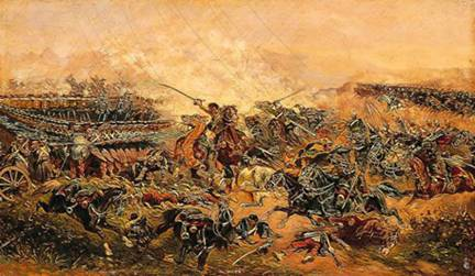 Clash between French infantry and Austrian cavalry at Solferino   (Museo San Martino)