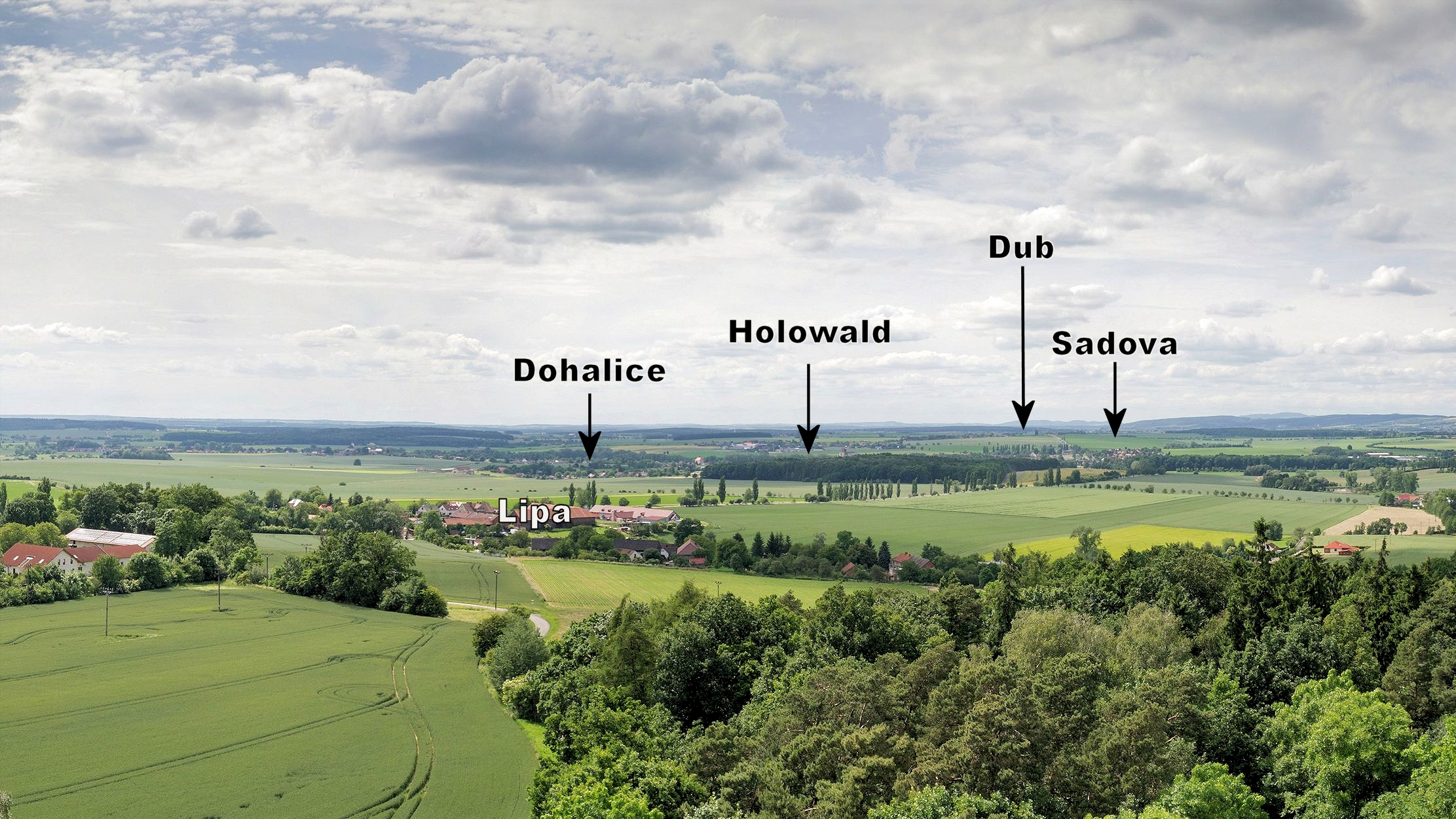 Looking North West towards Lipa and Holowald woods. Sadowa and Dub are in the distance. Dohalice and the line of the Bystrice river are just visible behind the woods.