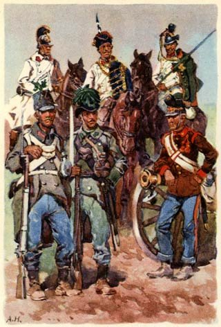 Austrian cavalry, infantry and artillery 1866.