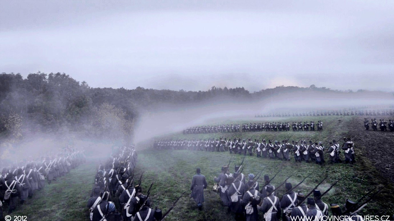 Austrian infantry advancing into the Swiepwald wood. Still from the motion picture SVIB, Moving Pictures CZ 2012.