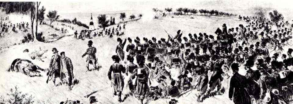 Austrian Jäger battalion advancing to the Sweipwald wood