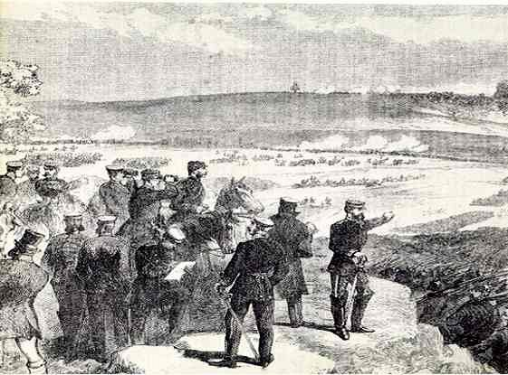 The Prussian Crown Prince watching the advance of the Guard.