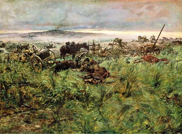 'The Battery of the Dead'. The artist put von der Gröben's battery too far away from Chlum village, seen on the far distant hilltop. Artistic licence taking precedence over historical fact.