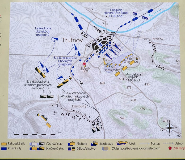 Plan taken from one of the information boards on the battlefield showing the action at 11:00 a.m.