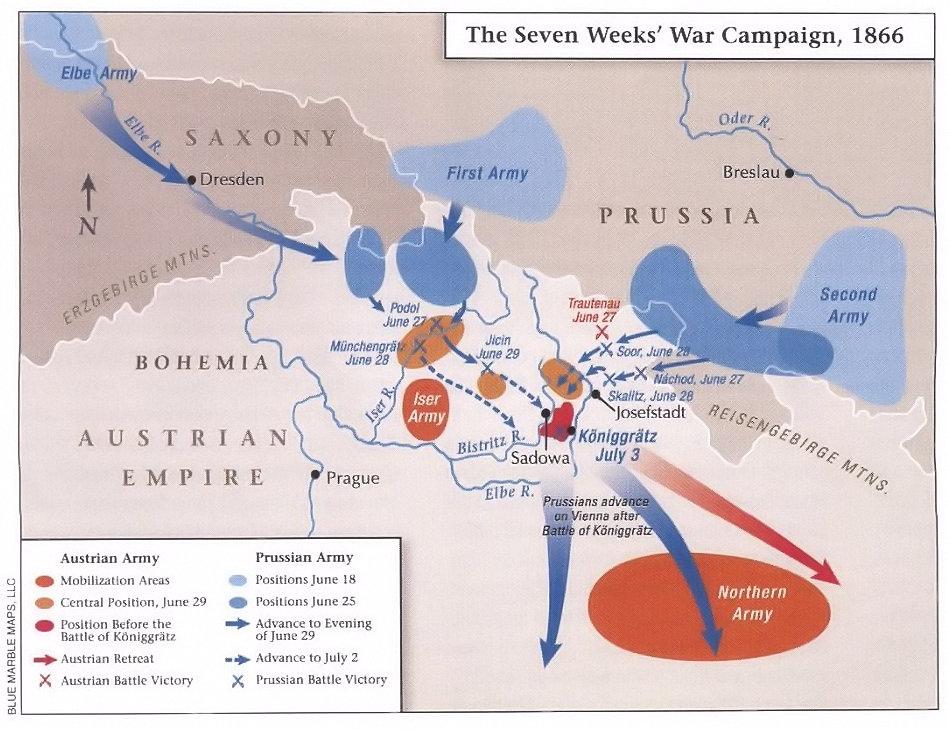 Campaign map Bohemia 1866