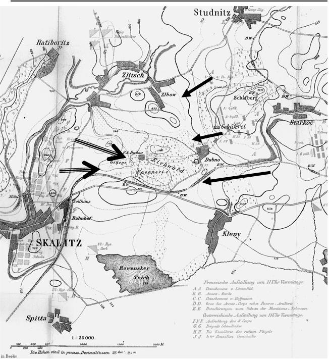 Map showing the Austrian (left) and Prussian (right) approach lines of attack at Skalitz. The Dubno wood is in the centre. The lake today has been greatly extended into a reservoir.