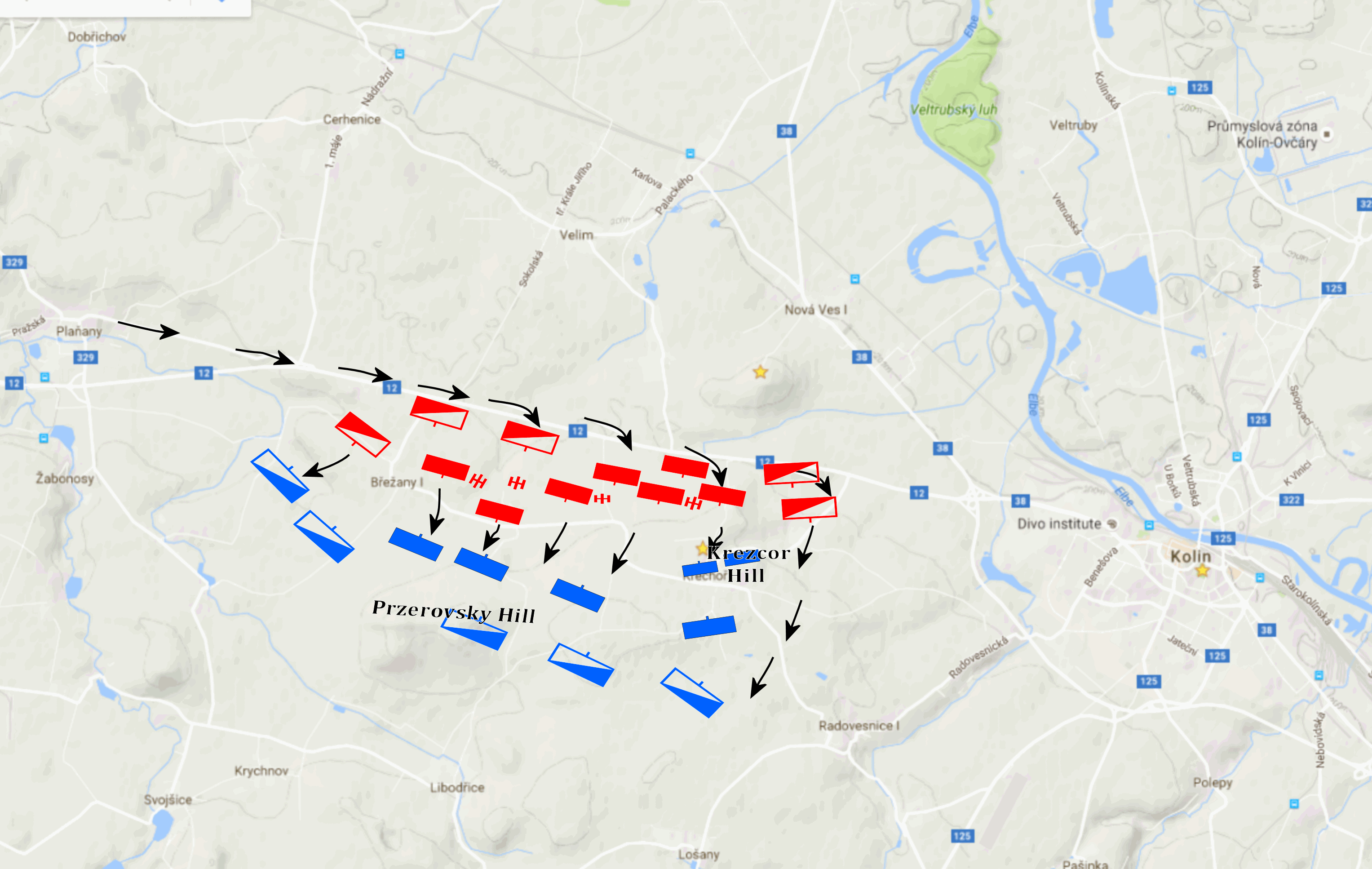 Map of the Battlefield. Austrian troops in blue, Prussian in red.