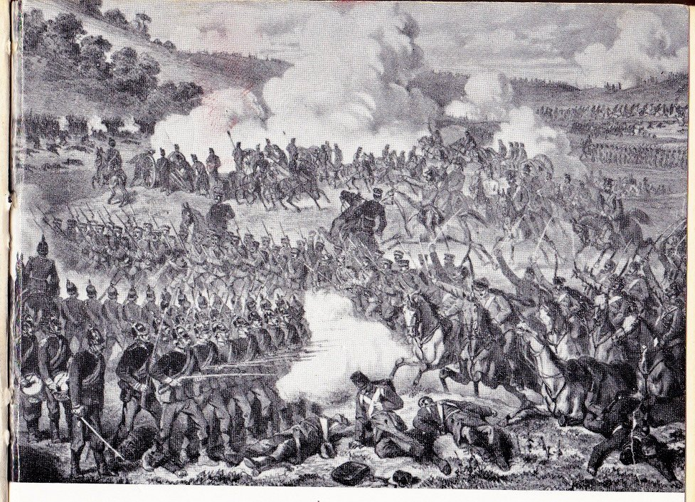 An incident at the battle of Königgrätz. Prussian infantry firing from the hip.