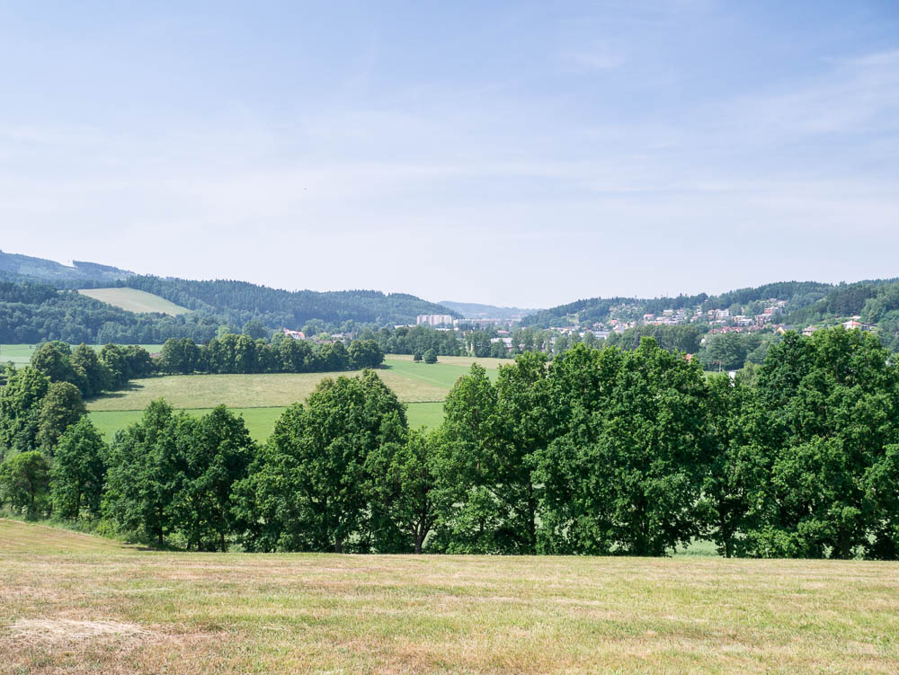 The defile at Trutnov (in the distance), looking from the Prussian line of advance towards the town. The course of the Aupa River is marked by the trees.
